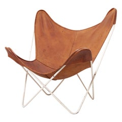 Mid-Century Modern Butterfly Chair by Knoll International in Original Leather