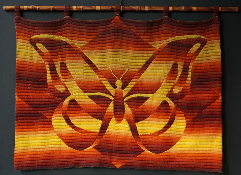 Mid-Century Modern butterfly tapestry. Measures: Width 80 cm. Height 60 cm.