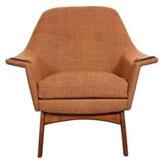 Mid-Century Modern Button Back Chair with Walnut Detailing by Adrian Pearsall