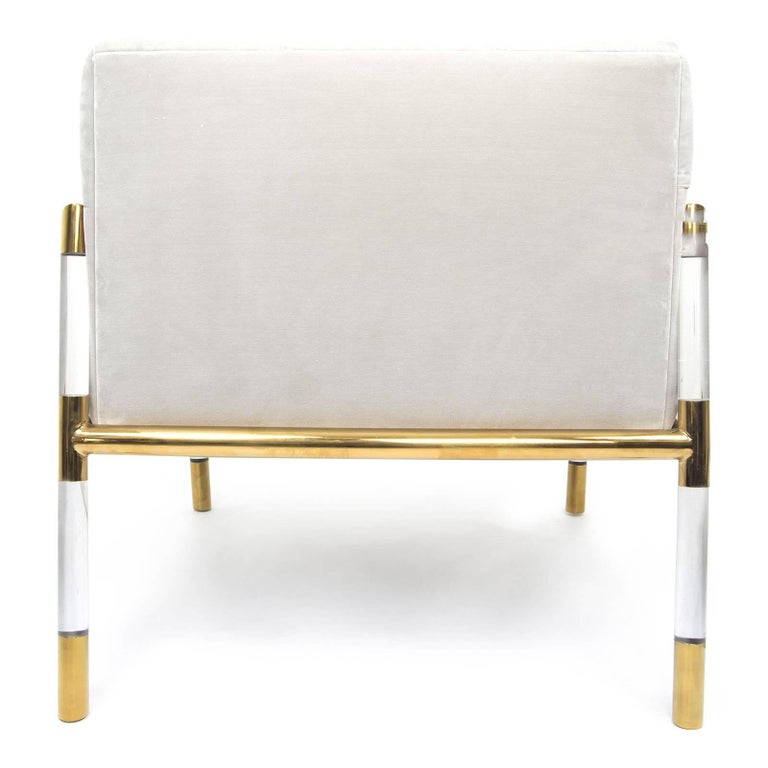 Chinese Mid-Century Modern Button Tufted Chair with Brass and Lucite Frame For Sale