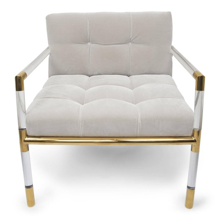 Polished Mid-Century Modern Button Tufted Chair with Brass and Lucite Frame For Sale