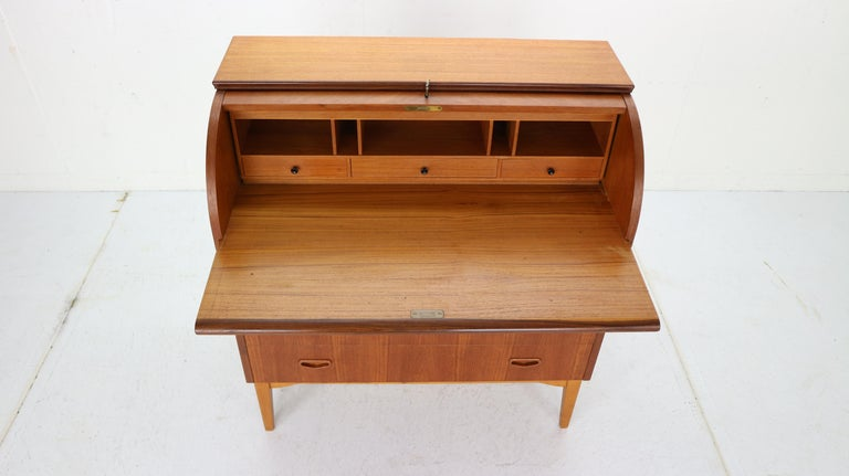 Teak Mid-Century Modern by Egon Ostergaard Rolltop Secretary Desk, 1970 For Sale