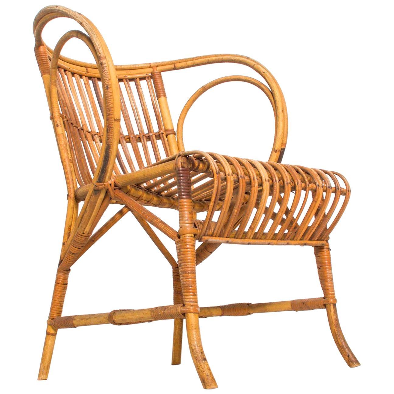 Mid-Century Modern by R. Wengler, Wicker Patio Lounge Chair, Denmark, 1960s