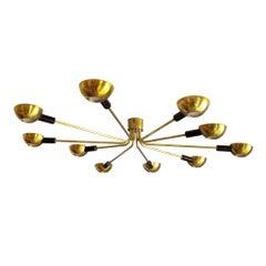 Mid-Century Modern by Stilnovo Brass Italian Flush Mounted Ceiling Light