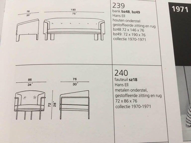Mid-Century Modern BZ49 Sofa by Hans Ell for 't Spectrum, 1970-1971 For Sale 3