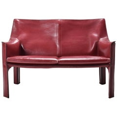 Mid-Century Modern Cab 414 Two-Seat Sofa in Bordeaux Leather by Mario Bellini