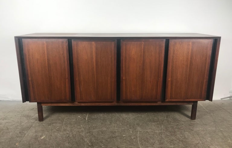 Stunning midcentury walnut credenza sideboard with top by Merton Gershun for Dillingham, circa 1970s.