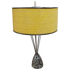 Mid-Century Modern Caged Wire Base Drum Shade Painted Table Lamp