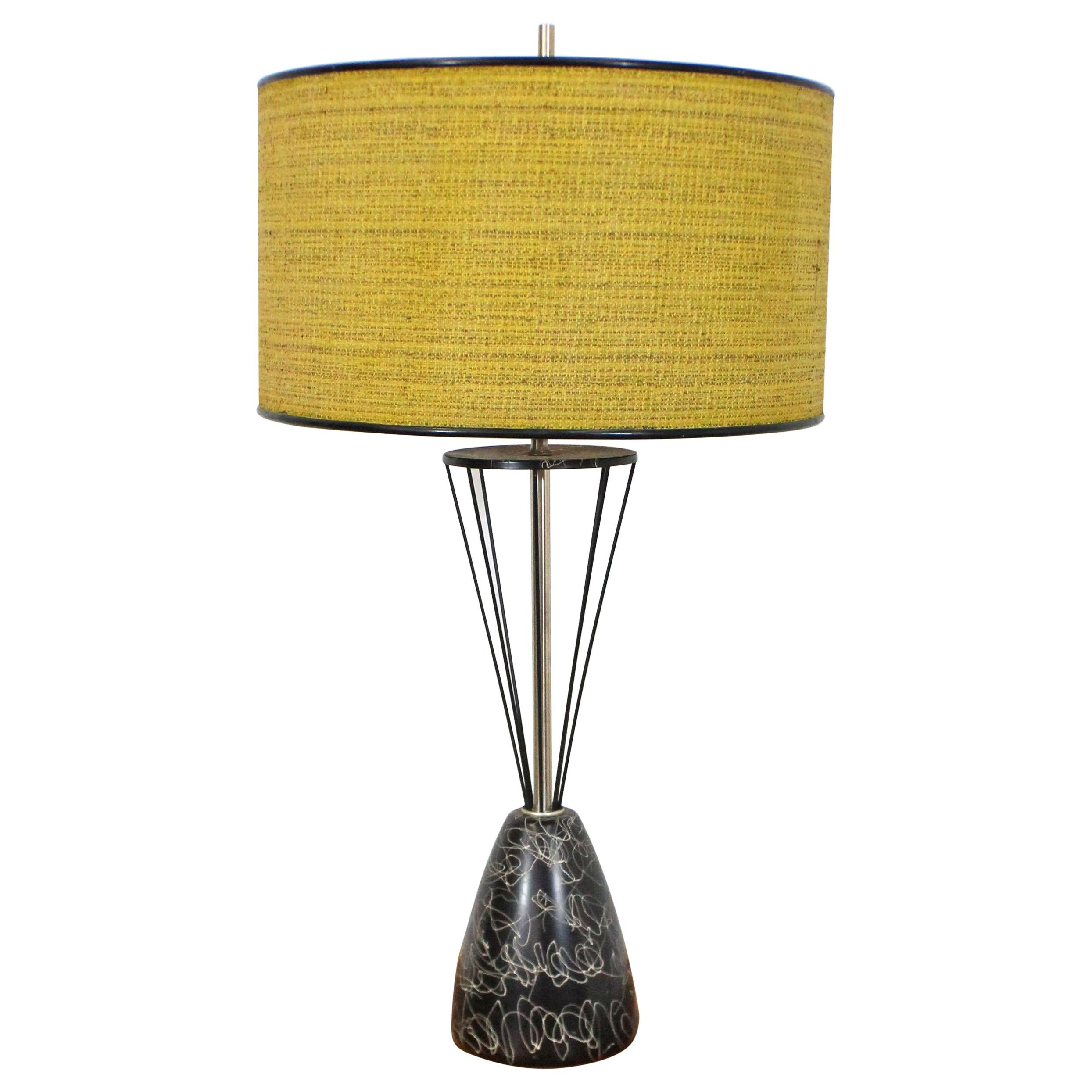 Mid-Century Modern Caged Wire Base Drum Shade Painted Tall Table Lamp