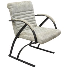 Mid Century Modern Cal-Style Furniture Art Deco Metal Frame Lounge Arm Chair