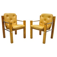 Mid-Century Modern Cal Style Inc Oak Chrome Sling Lounge Chairs, a Pair
