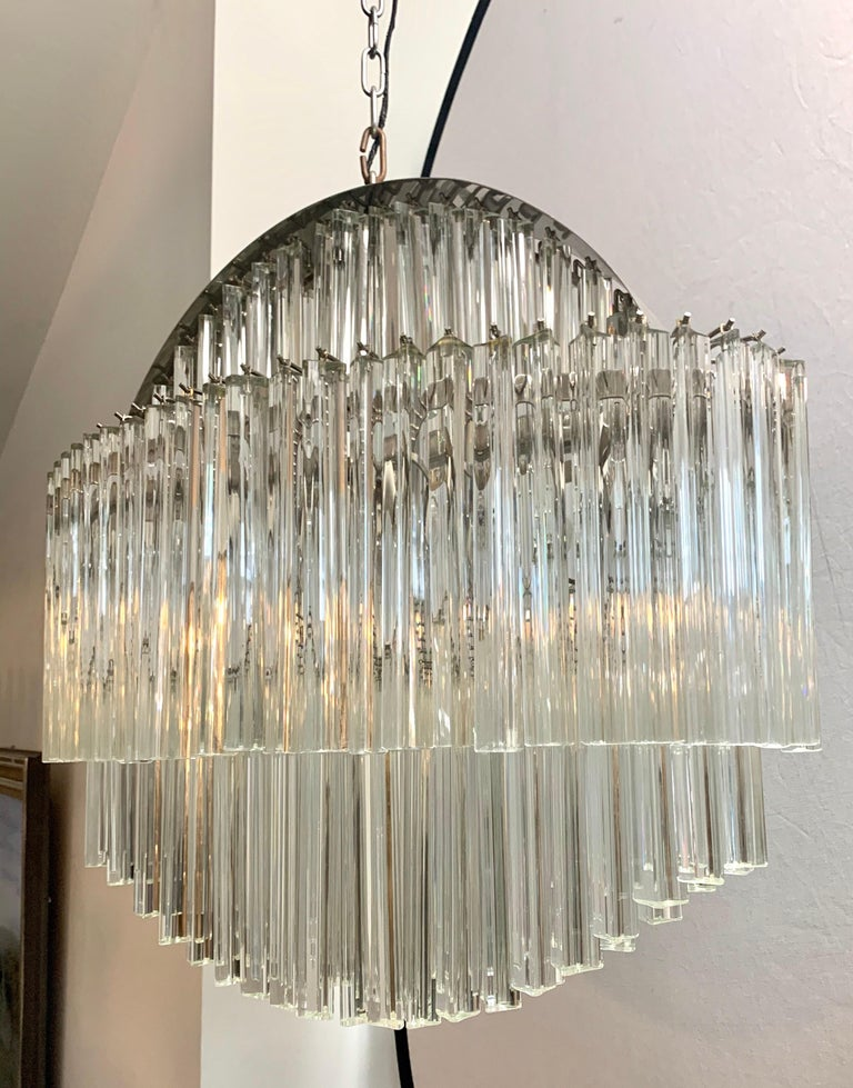 Iconic Mid-Century Modern Camer glass waterfall chandelier with six lights. It is rare to see