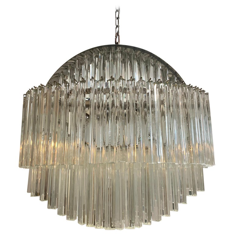 Mid-Century Modern Camer Glass Circular Shaped Chandelier For Sale