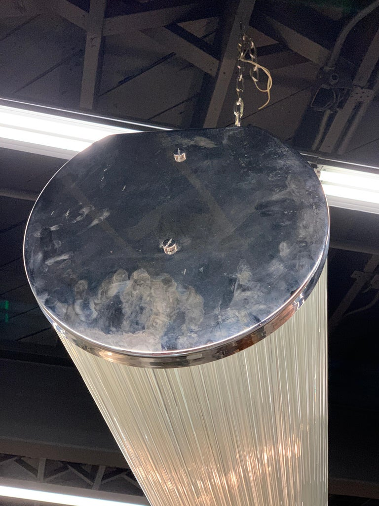 Late 20th Century Mid-Century Modern Camer Glass Tubular Cylinder Hanging Chandelier For Sale