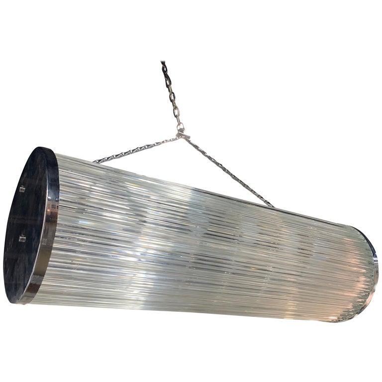 Mid-Century Modern Camer Glass Tubular Cylinder Hanging Chandelier For Sale