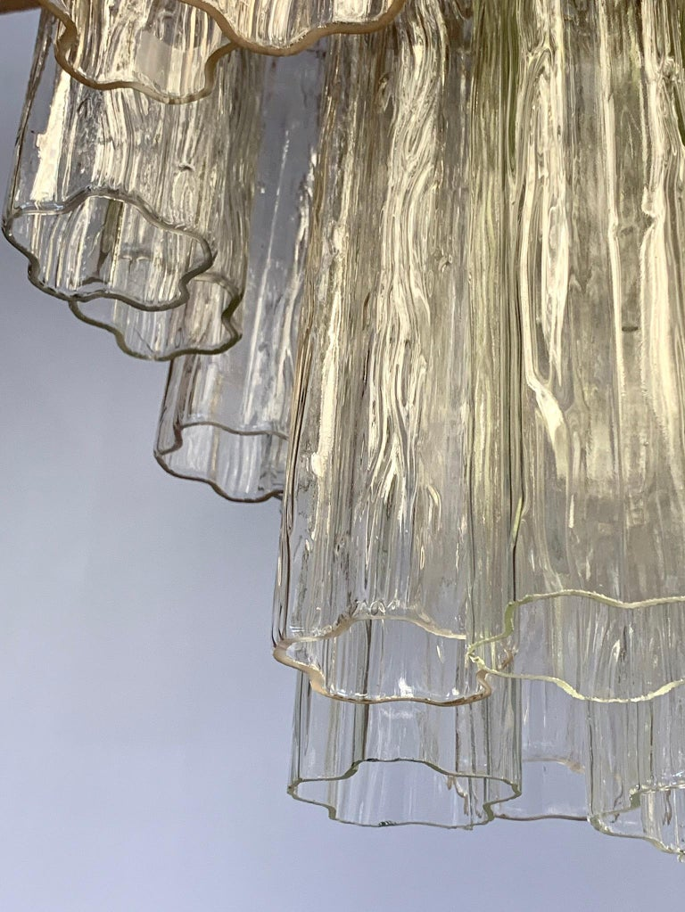 Mid-Century Modern Glass Murano Tubular Cylinder Chandelier Made in Italy In Good Condition For Sale In West Hartford, CT