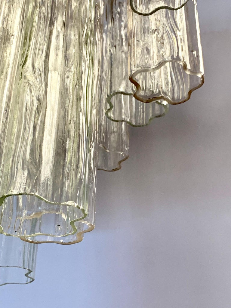 Late 20th Century Mid-Century Modern Glass Murano Tubular Cylinder Chandelier Made in Italy For Sale