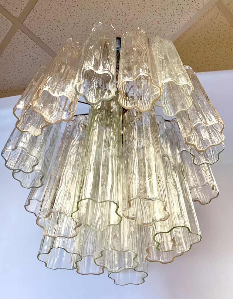 Mid-Century Modern Glass Murano Tubular Cylinder Chandelier Made in Italy For Sale 2