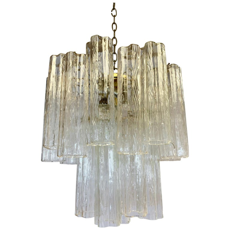 Mid-Century Modern Camer Glass Venini Tubular Cylinder Chandelier Made in Italy For Sale