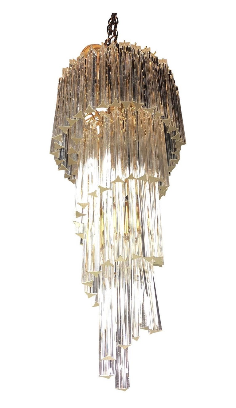 Late 20th Century Mid-Century Modern Camer Glass XL Waterfall Chandelier Murano Glass Crystals For Sale