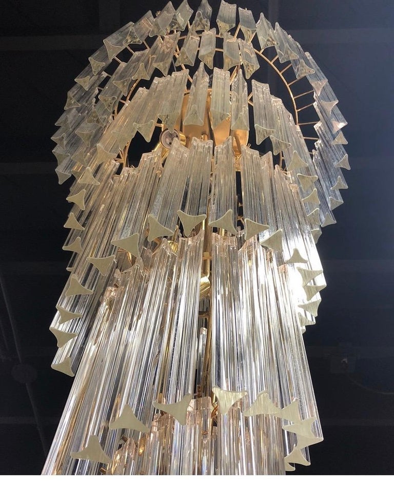 Mid-Century Modern Camer Glass XL Waterfall Chandelier Murano Glass Crystals For Sale 1