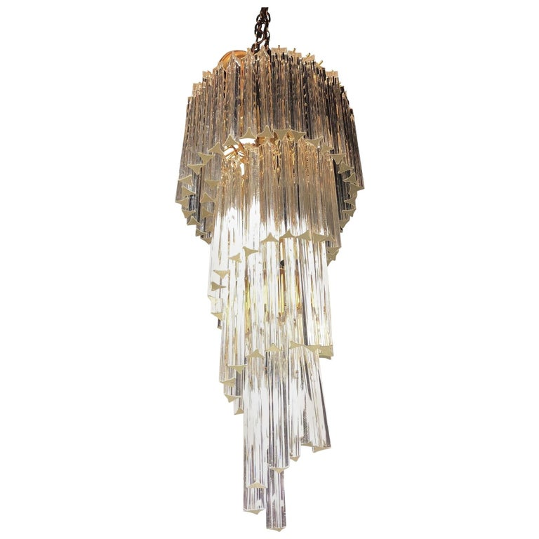 Mid-Century Modern Camer Glass XL Waterfall Chandelier Murano Glass Crystals For Sale