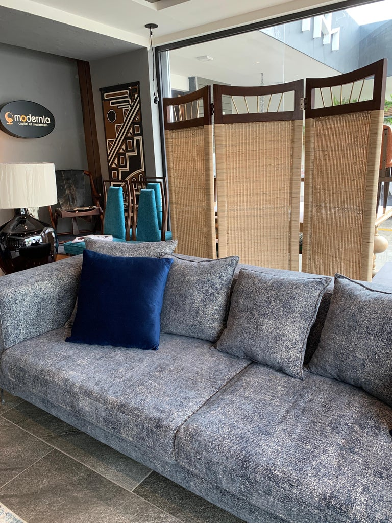 Mexican Mid-Century Modern Cane and Wood Screen For Sale