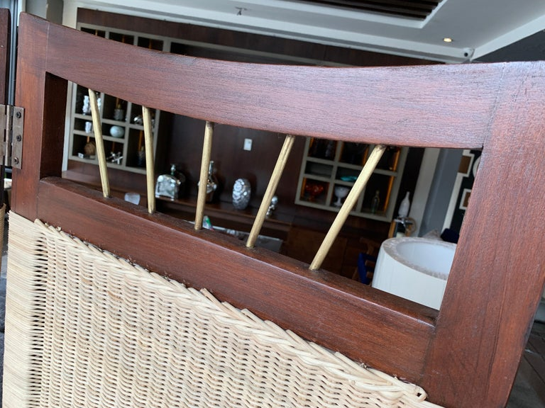 Mid-Century Modern Cane and Wood Screen For Sale 1