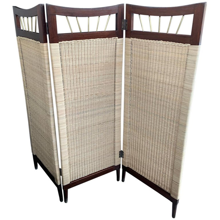 Mid-Century Modern Cane and Wood Screen For Sale