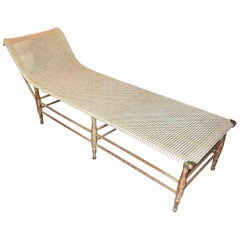 Mid-Century Modern Caned Chaise Lounge with Brass Hardware
