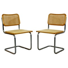 Mid-Century Modern Cantilever Chrome Rattan Side Chairs Breuer 1970s Italy, Pair