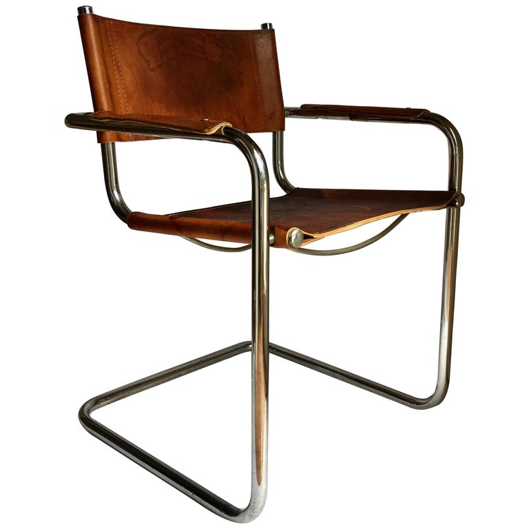 Mid Century Modern Cantilevered Chrome And Cognac Leather