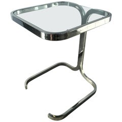 Mid-Century Modern Cantilevered Side Table in Chrome, Italy, 1970s