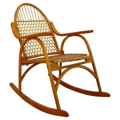 Mid Century Modern Carl Koch for Vermont Tubbs Sno Shu Rocking Chair Rawhide 50s