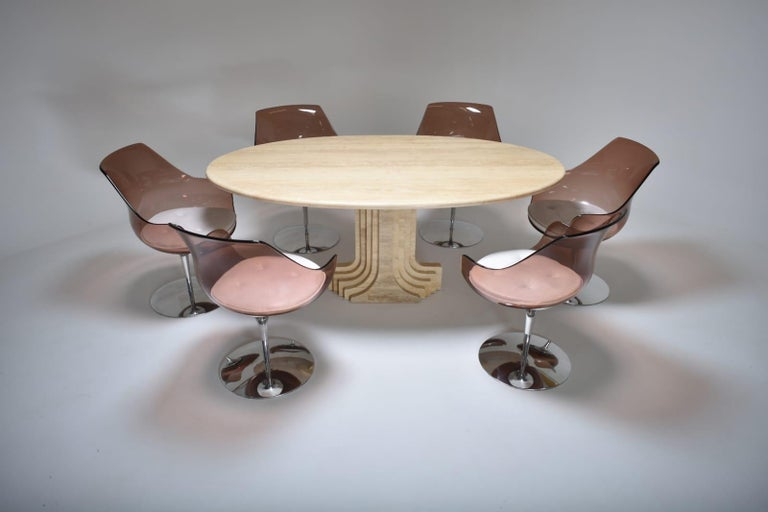 Mid-Century Modern Carlo Scarpa Cream Travertine Samo Dining Table, Italy, 1970 For Sale 5