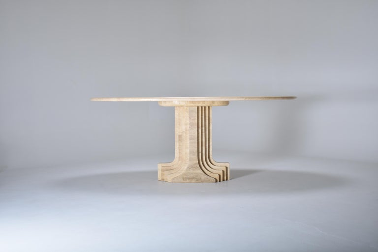 Mid-Century Modernoval travertine dining room table.  Designed in 1970 by Carlo Scarpa (1906-1978) for the