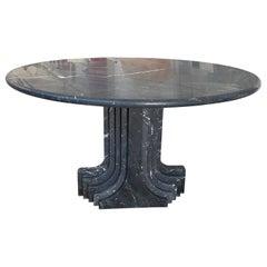 "Mid-Century Modern Carlo Scarpa Italian ""Argo"" Marquina Marble Table, 1970s"