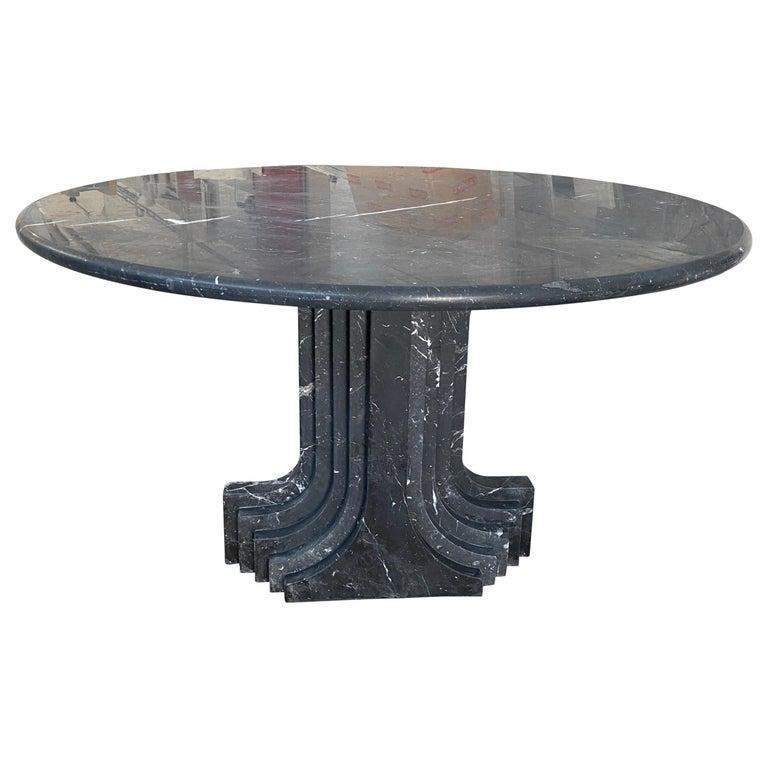 "Mid-Century Modern Carlo Scarpa Italian ""Argo"" Marquina Marble Table, 1970s For Sale"