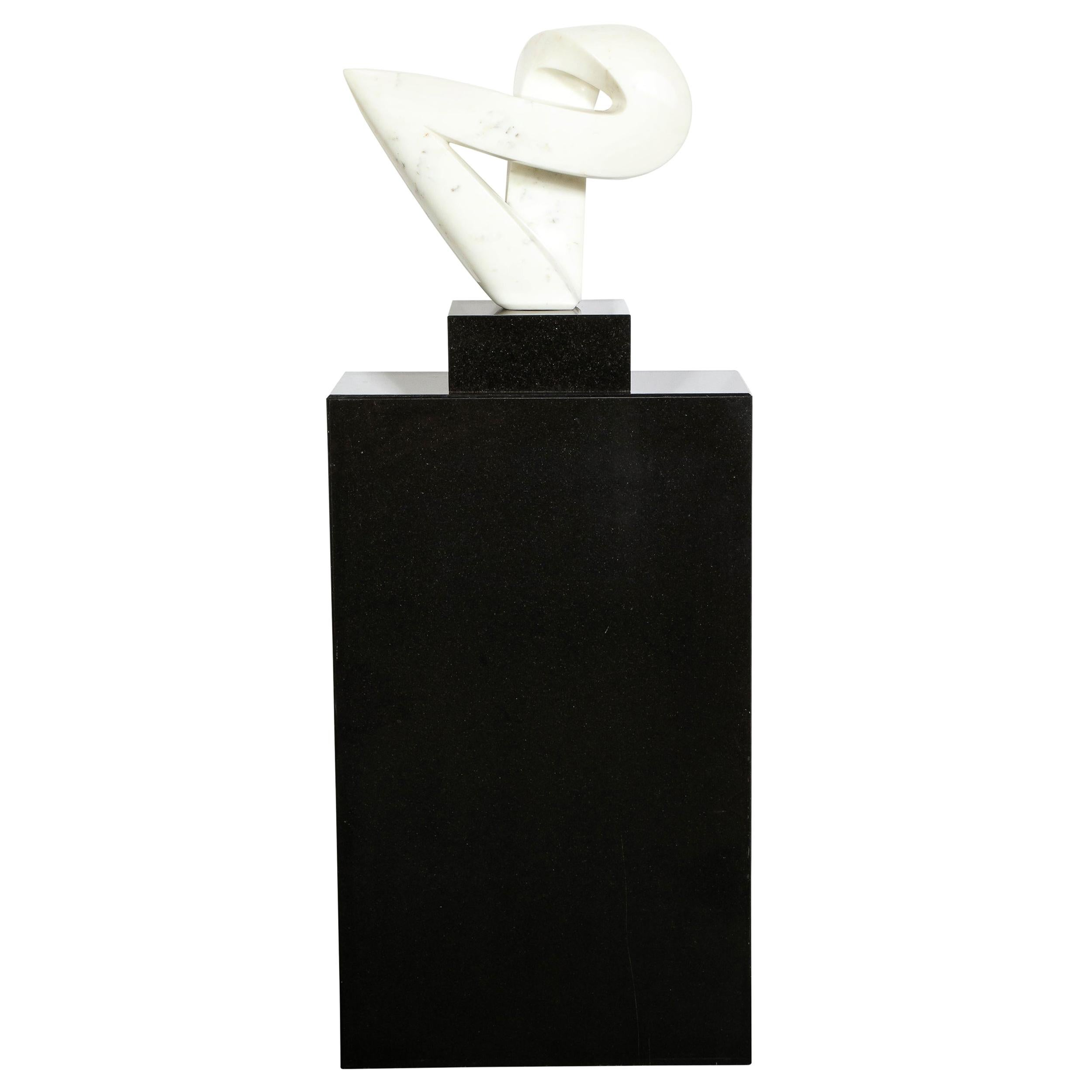 Mid-Century Modern Carrara Marble Abstract Sculpture on Black Granite Base