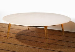 Mid-Century Modern Carrara Marble and Brass Round Coffee Table, Italy, 1950s