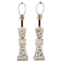 Mid-Century Modern Carved Alabaster Lamps in James Mont Style
