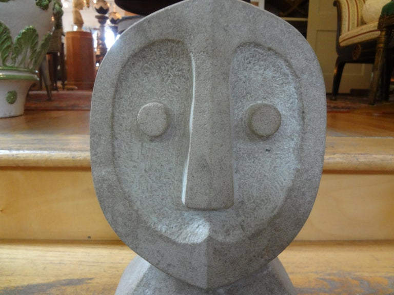 Mid-Century Modern Carved Stone Sculpture In Good Condition For Sale In Houston, TX