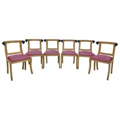 Mid-Century Modern Carved Wood Dining Chairs with Rams Head Accents, Set of Six
