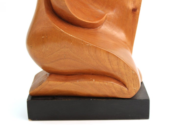 Mid-Century Modern Carved Wood Sculpture of Kneeling Woman For Sale 3