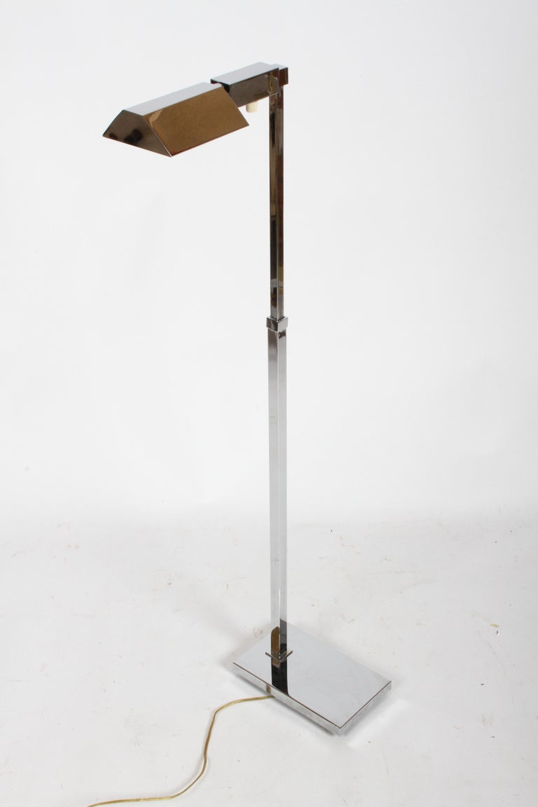 American Mid-Century Modern Casella Chrome Adjustable Floor Reading Lamp For Sale