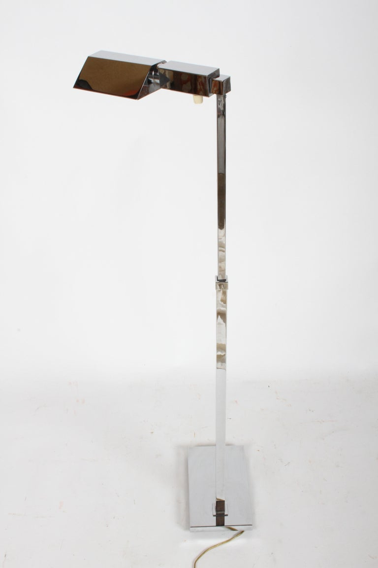 Mid-20th Century Mid-Century Modern Casella Chrome Adjustable Floor Reading Lamp For Sale