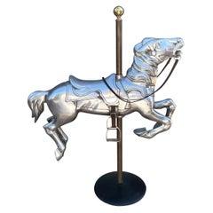 Mid-Century Modern Cast Aluminum Mounted Carousel Horse Sculpture Worlds Fair