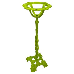 Mid-Century Modern Cast Iron Floor Stand Ashtray, Chartreuse Powder-Coated