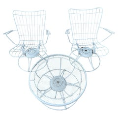 Mid-Century Modern Cast Iron Homecrest Wire Lounge Chairs, Table Set