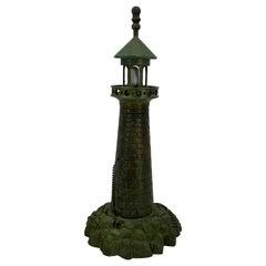 Mid-Century Modern Cast Iron Lighthouse Table Lamp